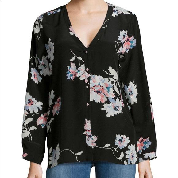 2a86d3257c1eb Joie Tops - Joie Black Silk Michi Floral Print Blouse